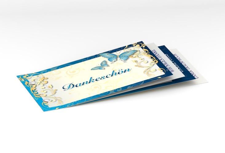 """Danksagungskarte Hochzeit """"Toulouse"""" Booklet blau"""