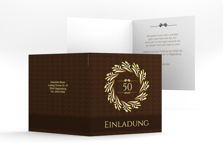 """Einladungskarte """"Manfred"""" Quadratische Klappkarte"""