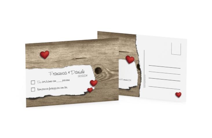 Biglietti risposta matrimonio collezione augusta A6 Postkarte marrone