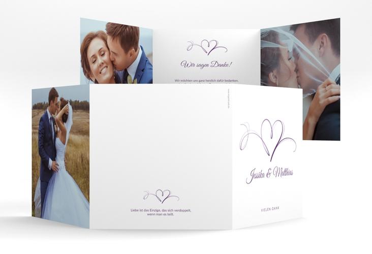 """Dankeskarte Hochzeit """"Envie"""" Quadr. Karte doppelt lila"""