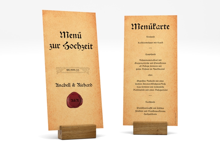 "Menükarte Hochzeit ""Mittelalter"" DIN lang hoch"