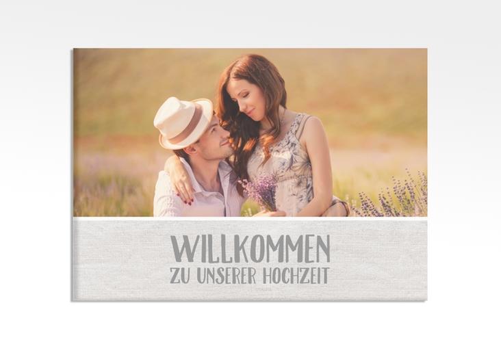 """Willkommensschild Hochzeit """"Landliebe"""" 70 x 50 cm Leinwand weiss"""