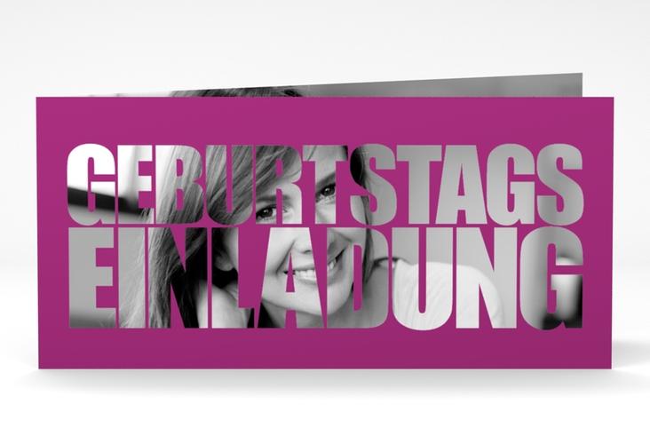 """Einladungskarte """"Jahreszahl"""" DIN lang Klappkarte pink"""
