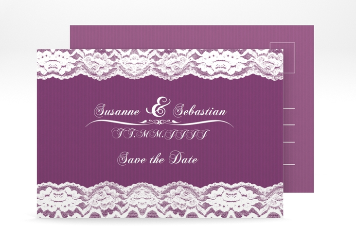 "Save the Date-Postkarte ""Montreux"" A6 Postkarte pink"