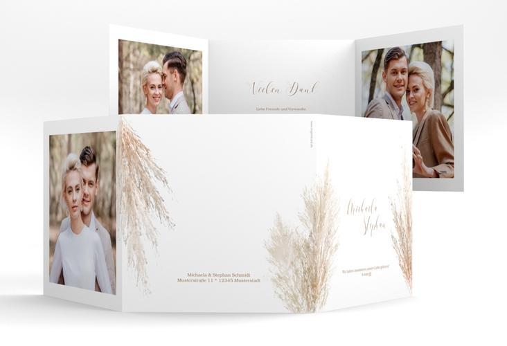 """Danksagungskarte Hochzeit """"Pampasgras"""" Quadr. Karte doppelt weiss"""