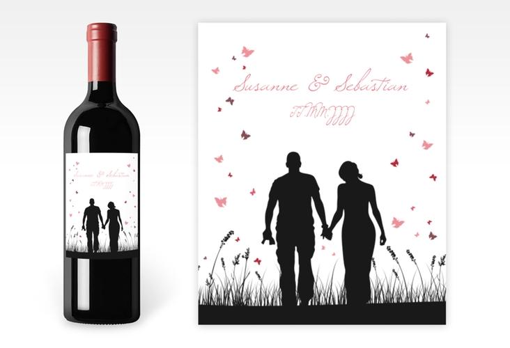 """Weinflaschenetikett Hochzeit """"Rouen"""" Etikett Weinflasche 4er Set schwarz"""