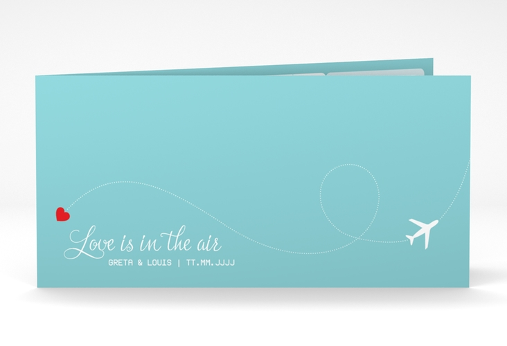 "Dankeskarte Hochzeit ""Weddingpass"" DIN lang Klappkarte blau"