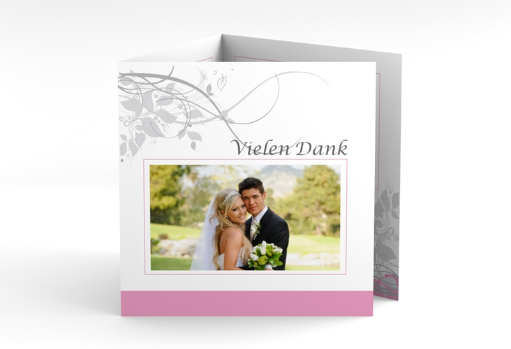 "Dankeskarte Hochzeit ""Florenz"" Quadr. Karte doppelt rosa"