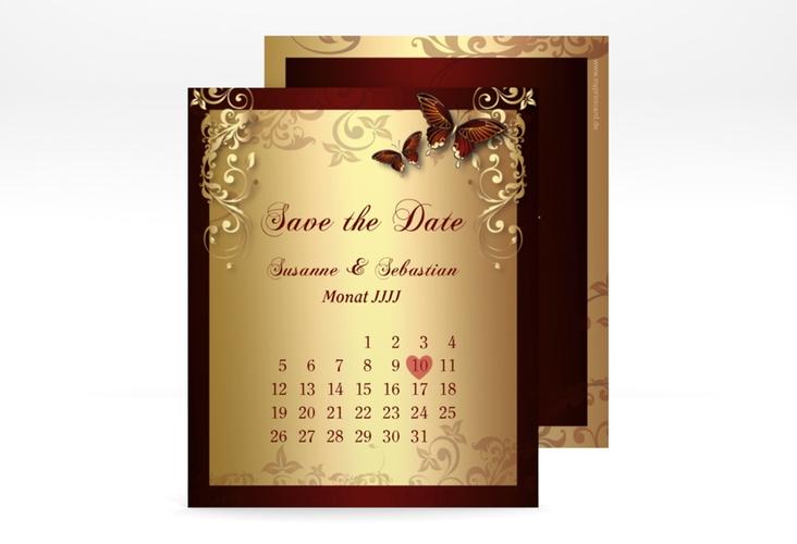 "Save the Date-Kalenderblatt ""Toulouse"" Kalenderblatt-Karte rot"