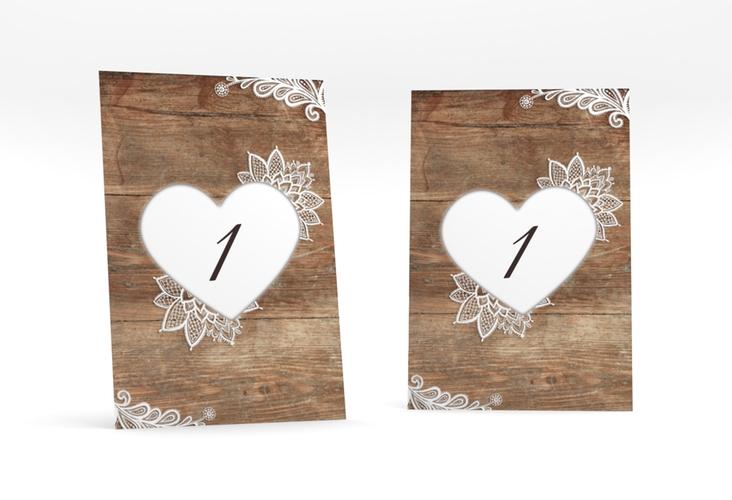"""Tischnummer Hochzeit """"Spitze"""" Tischaufsteller"""