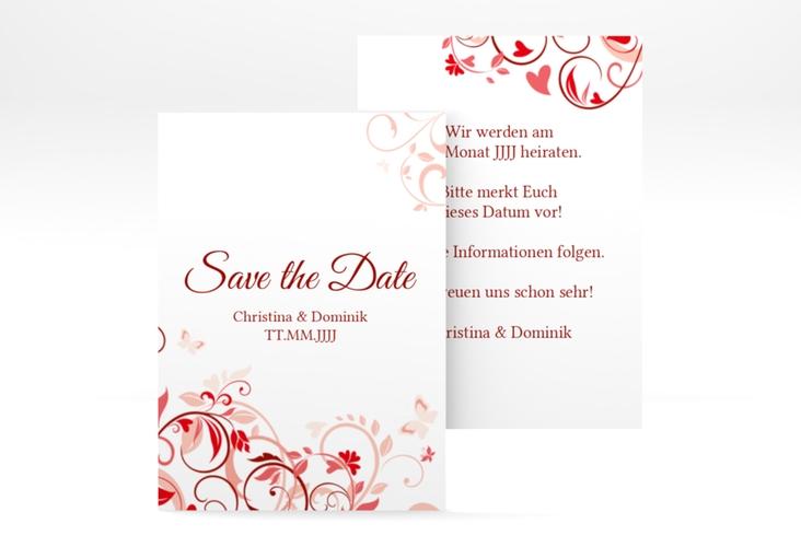 """Save the Date-Visitenkarte """"Lilly"""" Visitenkarte rot"""
