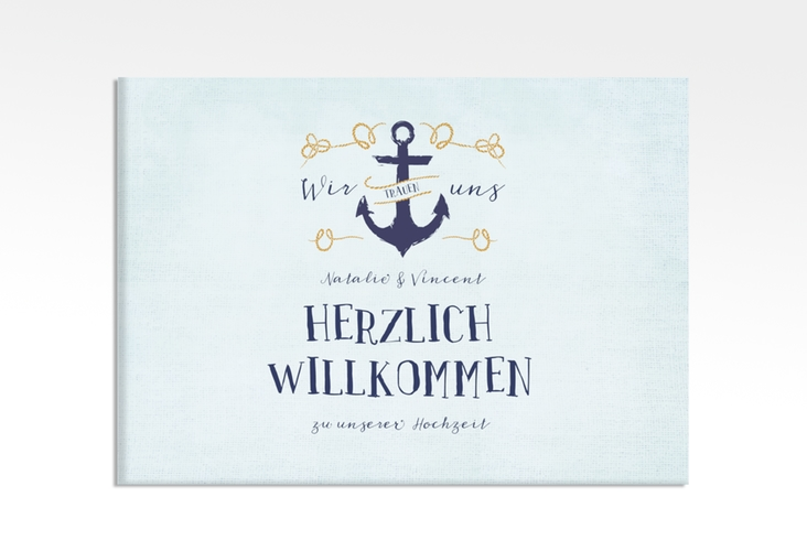 "Willkommensschild Leinwand ""Anker"" 70 x 50 cm Leinwand"