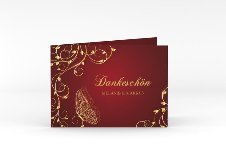 "Danksagungskarte Hochzeit ""Eternity"" A6 Klappkarte Quer rot"