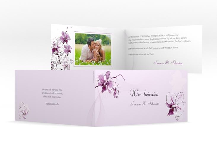 """Einladung Hochzeit """"Modena"""" DIN lang Klappkarte lila"""