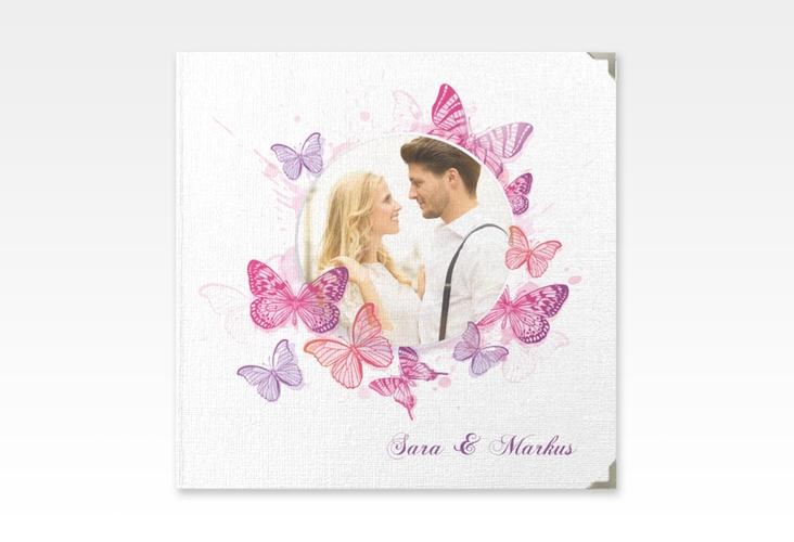 """Gästebuch Selection Hochzeit """"Schmetterlinge"""" Leinen-Hardcover pink"""