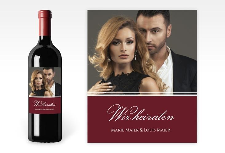 """Weinetikett zur Hochzeit """"Elegancy"""" Etikett Weinflasche 4er Set rot"""