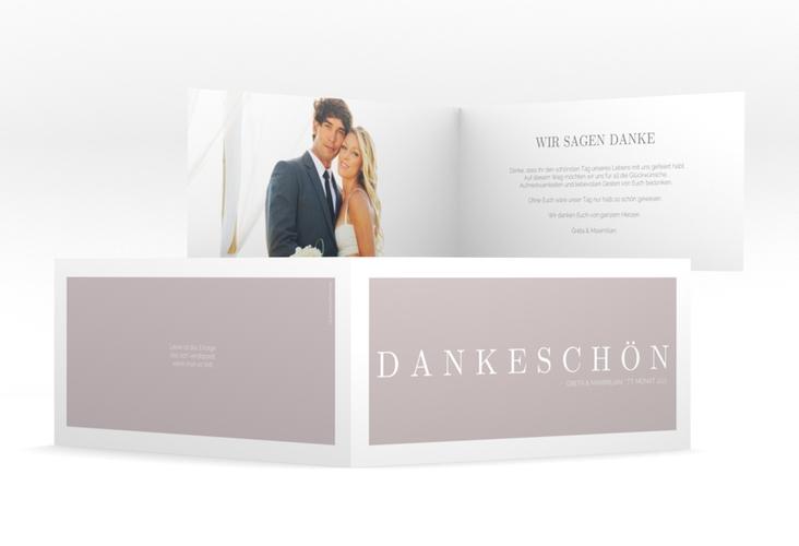 "Dankeskarte Hochzeit ""Simply"" DIN lang Klappkarte grau"