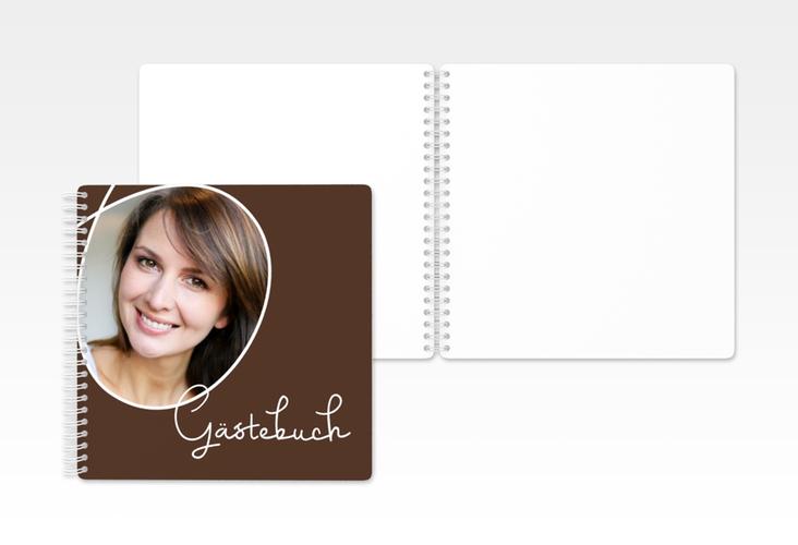 """Gästebuch Geburtstag """"Swing"""" Ringbindung braun"""
