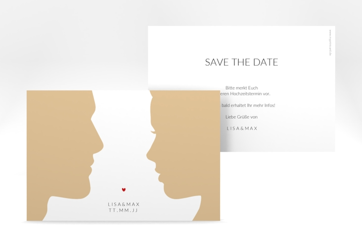 """Save the Date-Karte """"Silhouetten"""" A6 quer beige"""