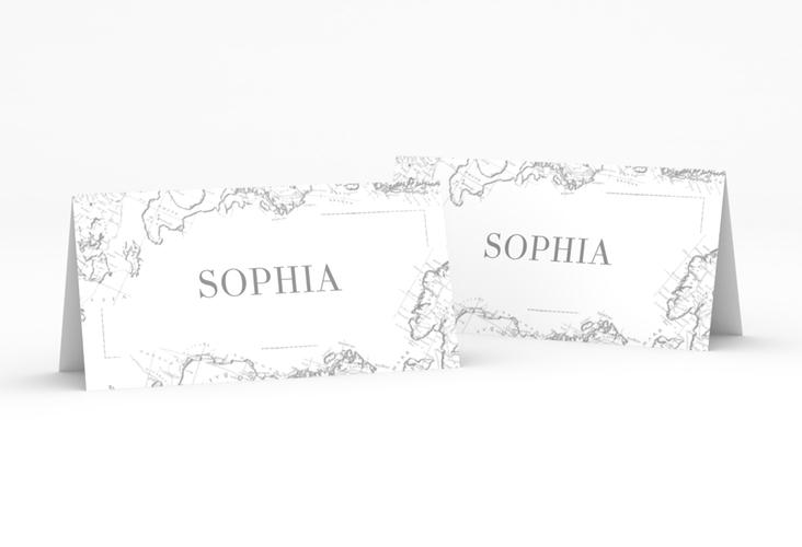 """Tischkarte Hochzeit """"Voyage"""" Tischkarten grau"""