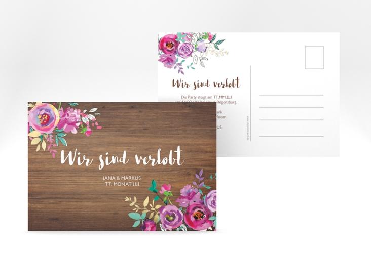 """Verlobungskarte Hochzeit """"Flourish"""" A6 Postkarte braun"""