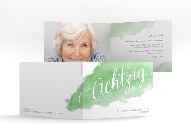 """Einladungskarte """"Aquarell"""" A6 Klappkarte Quer gruen"""