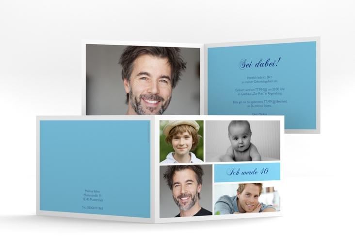 """Einladungskarte """"Bilderserie"""" A6 Klappkarte Quer blau"""