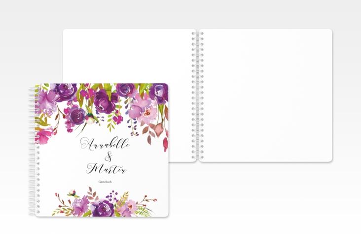 """Gästebuch Hochzeit """"Violett"""" Ringbindung"""