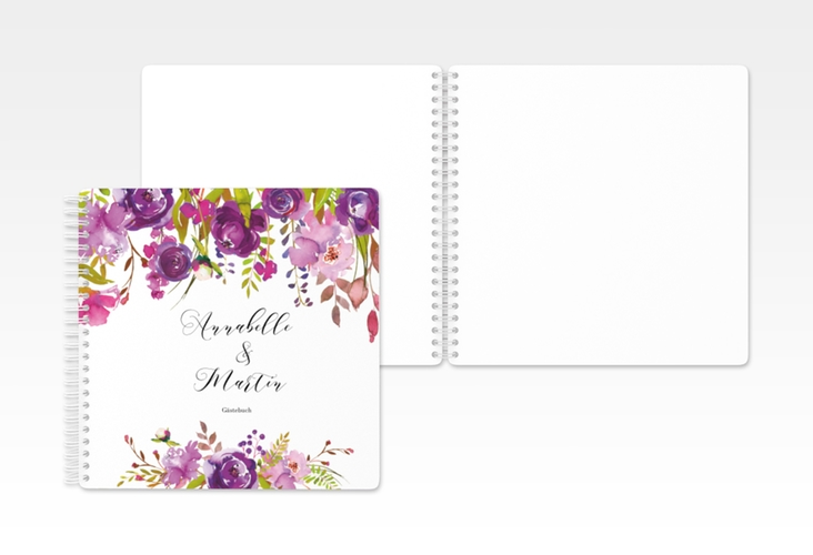 "Gästebuch Hochzeit ""Violett"" Ringbindung weiss"
