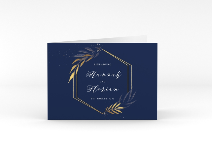"""Hochzeitseinladung """"Eleganza"""" A6 Klappkarte Quer blau"""