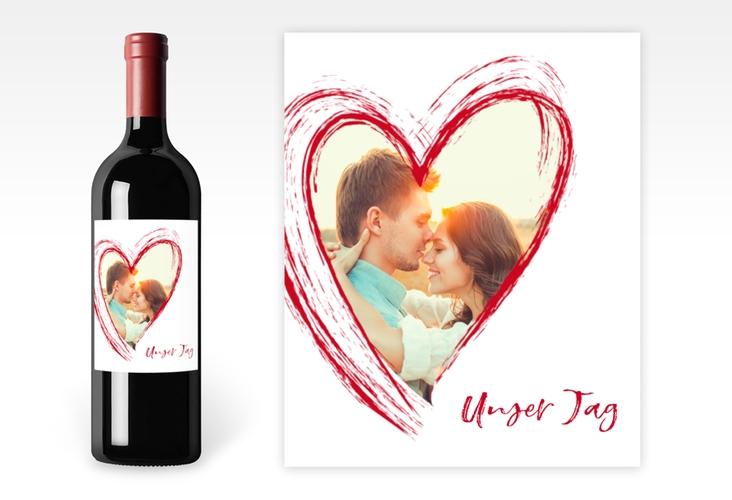 """Weinetikett zur Hochzeit """"Liebe"""" Etikett Weinflasche 4er Set rot"""