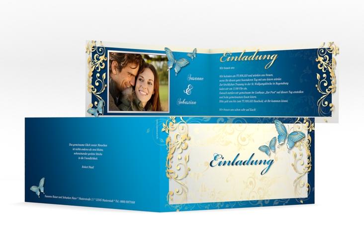 "Hochzeitseinladung ""Toulouse"" DIN lang Klappkarte blau"