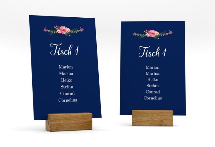 """Tischaufsteller Hochzeit """"Fiore"""" Tischaufsteller blau"""