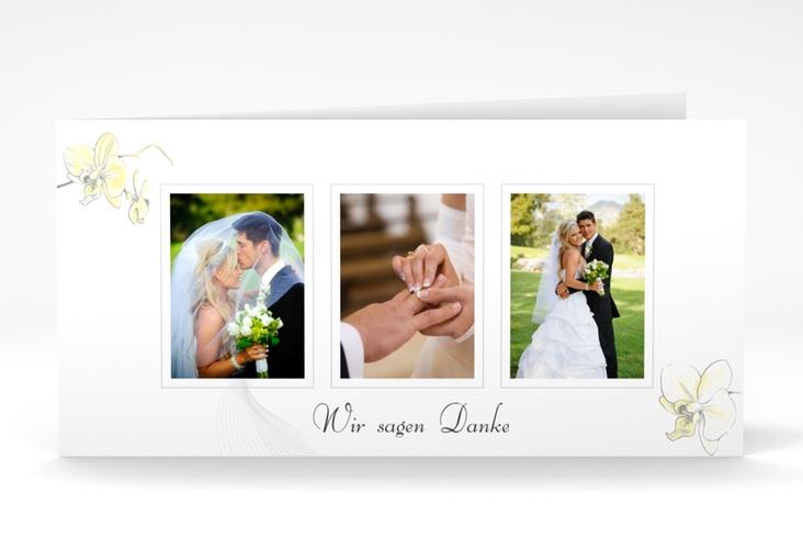 "Dankeskarte Hochzeit ""Modena"" DIN lang Klappkarte gelb"