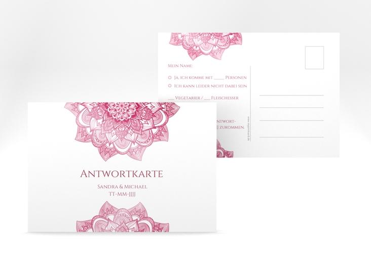 """Antwortkarte Hochzeit """"Delight"""" A6 Postkarte pink"""