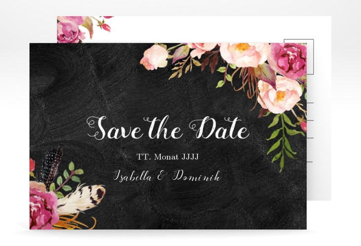 "Save the Date-Postkarte ""Flowers"" A6 Postkarte schwarz"