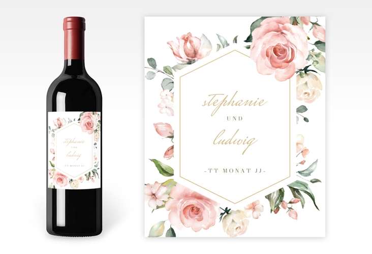 """Weinflaschenetikett Hochzeit """"Graceful"""" Etikett Weinflasche 4er Set weiss"""