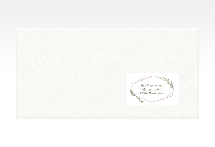 """Empfängeretikett Hochzeit """"Herbarium"""" 63,5 x 38,1 mm rosa"""