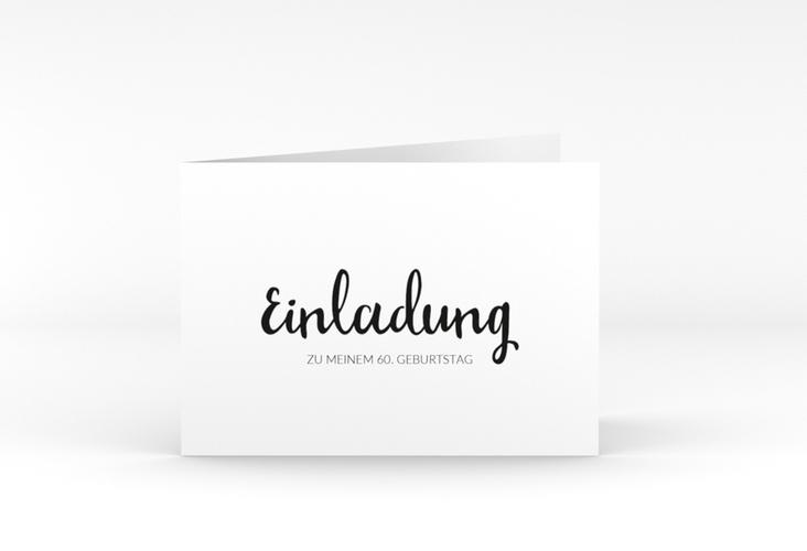 """Einladungskarte """"Handwriting"""" A6 Klappkarte Quer schwarz"""