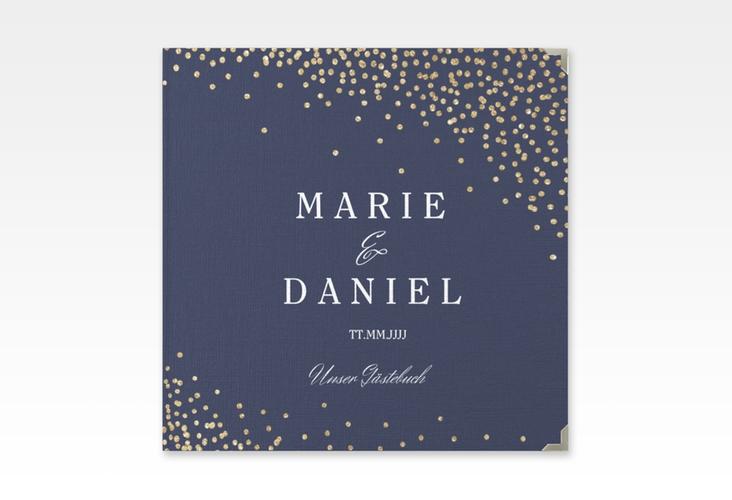 """Gästebuch Selection Hochzeit """"Glitter"""" Leinen-Hardcover blau"""