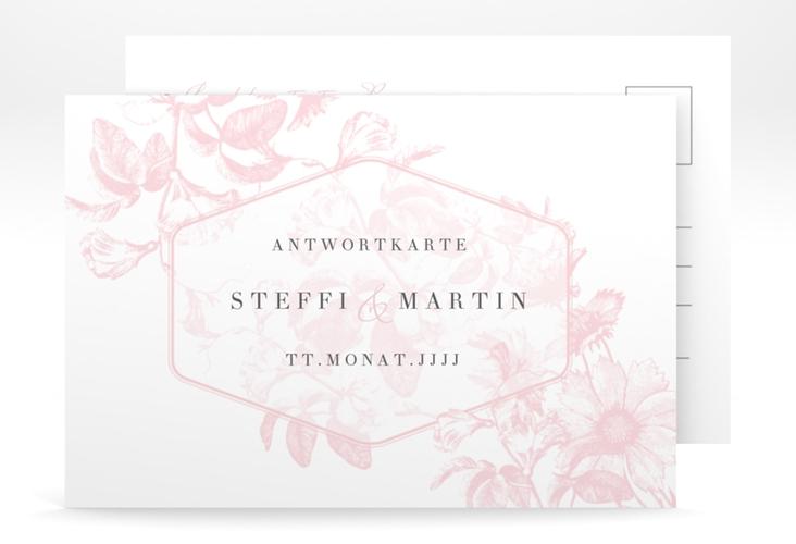 """Antwortkarte Hochzeit """"Magnificent"""" A6 Postkarte rosa"""