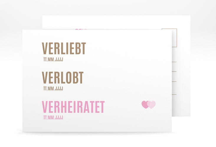 "Save the Date-Postkarte ""Couple"" A6 Postkarte rosa"