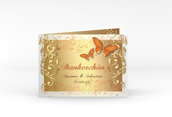 """Danksagungskarte Hochzeit """"Toulouse"""" A6 Klappkarte Quer orange"""