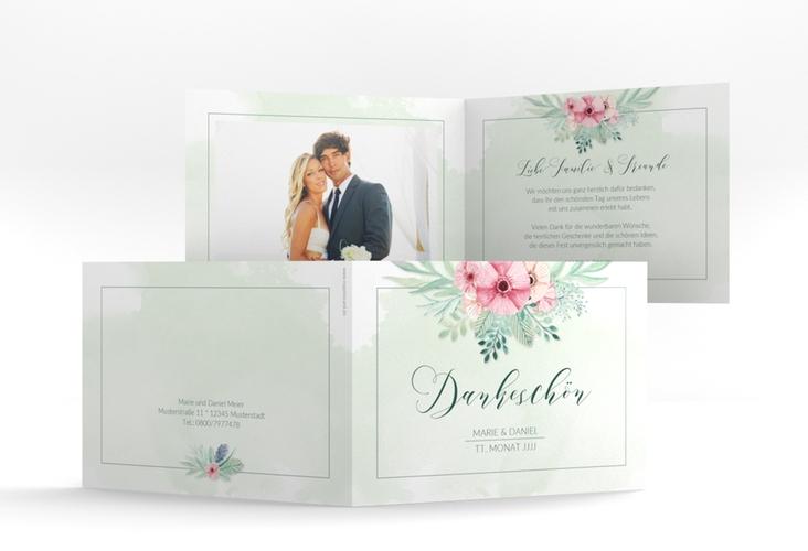 """Dankeskarte Hochzeit """"Surfinia"""" A6 Klappkarte Quer gruen"""