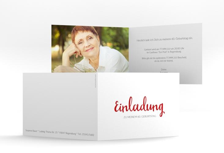 "Einladungskarte ""Handwriting"" A6 Klappkarte Quer rot"