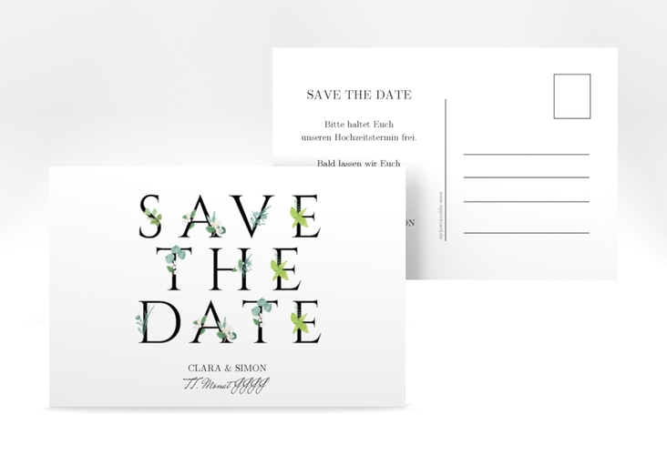"Save the Date-Postkarte ""Greens"" A6 Postkarte schwarz"