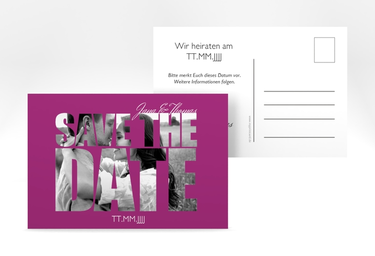 "Save the Date-Postkarte  ""Letters"" A6 Postkarte pink"