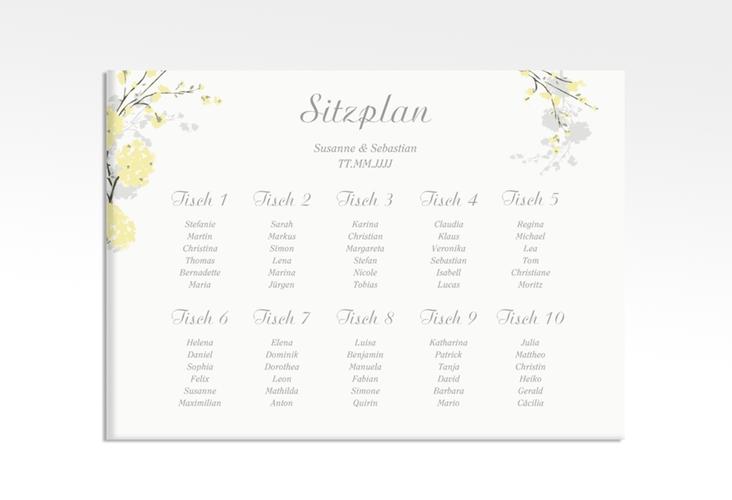 """Sitzplan Leinwand Hochzeit """"Salerno"""" 70 x 50 cm Leinwand gelb"""
