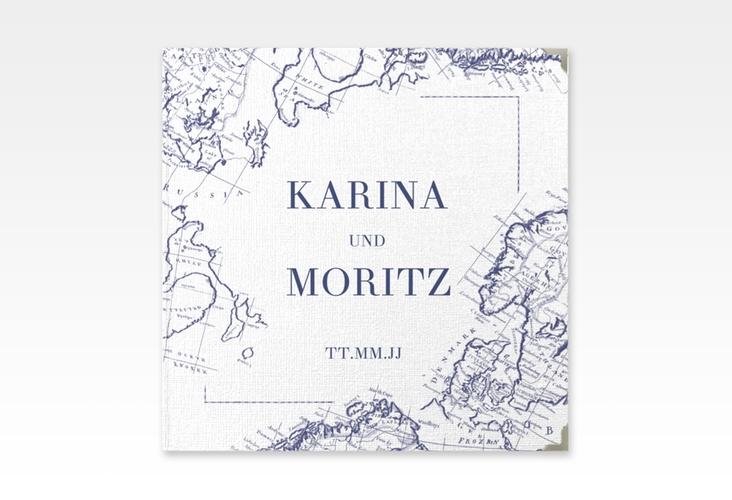 """Gästebuch Selection Hochzeit """"Voyage"""" Leinen-Hardcover blau"""