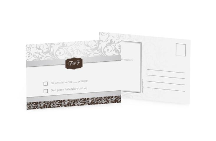 Biglietti risposta matrimonio collezione Latina A6 Postkarte marrone